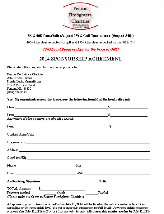 event sponsorship form template Template – Event Agreement Template